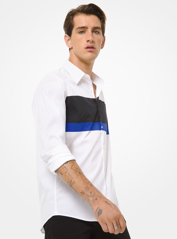 スリムフィット ストレッチコットン カラーブロックシャツ