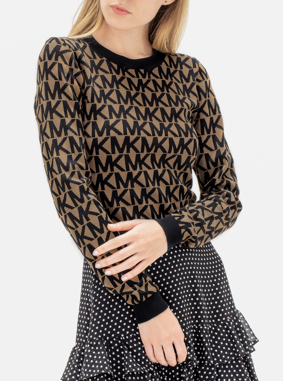 MK ロゴ ニット クロップド セーター