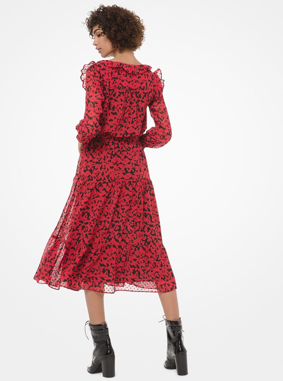 リーフプリント ティアード ドレス