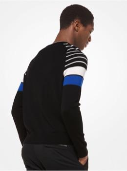 アクティブ ストライプ クルーネックセーター