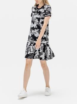 クルーネック ショートスリーブ カモ ドレス