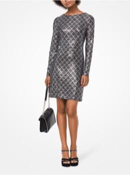 グリッター ロングスリーブ ブラック ドレス