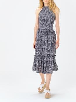 フラワープリント ホルターネックドレス