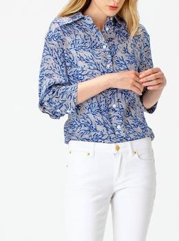 バイカラー コーラル モザイク シャツ