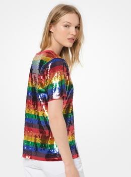 レインボー シークインストライプ Tシャツ