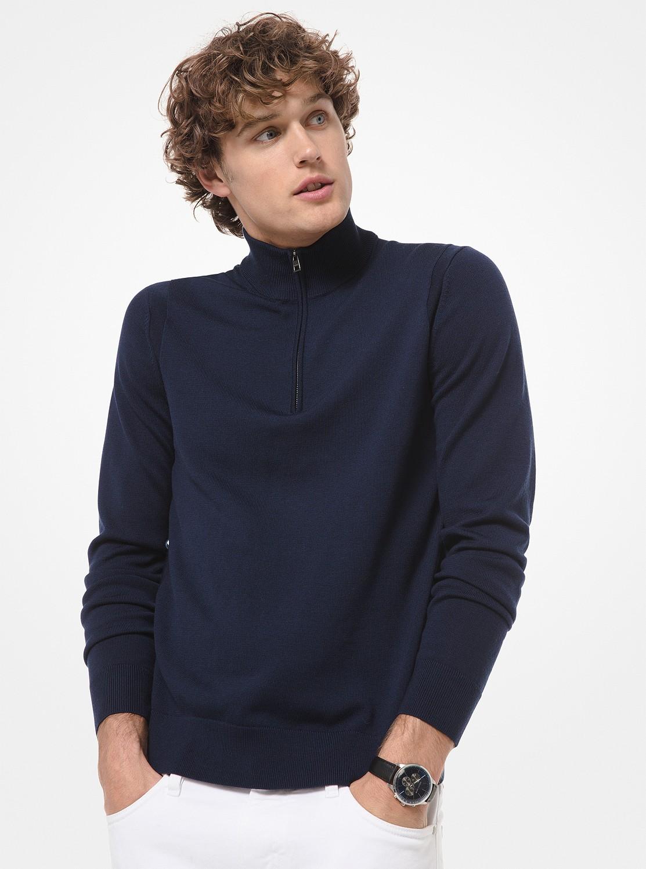 メリノウール ハーフジップアップ セーター