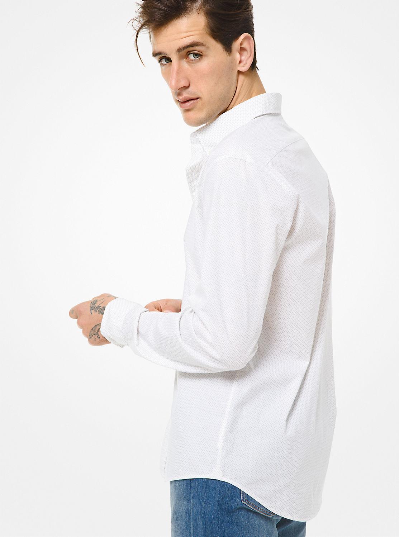 ミニドットプリント コットンシャツ