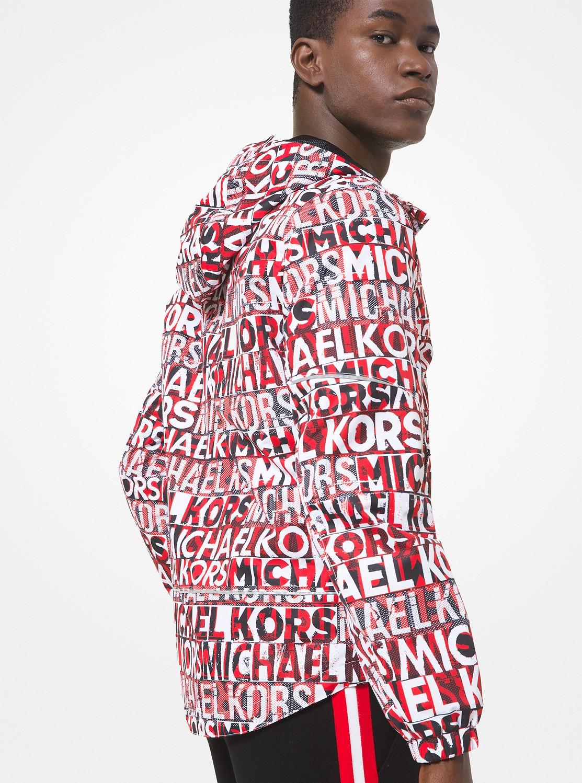 グラフィックロゴプリントフードジャケット