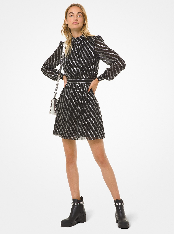 メタリックストライプ シルクジャカードドレス