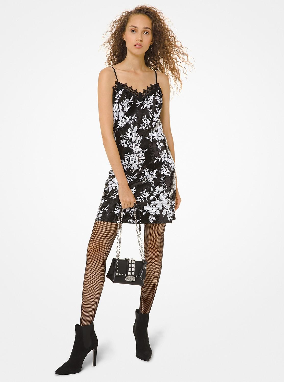 フラワーシークイン スリップドレス