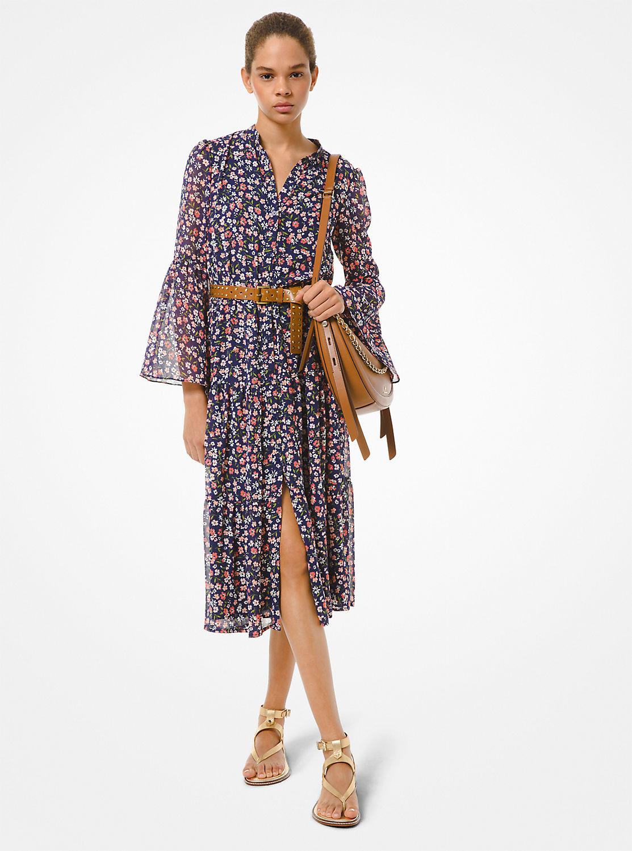 フローラル フレアスリーブドレス