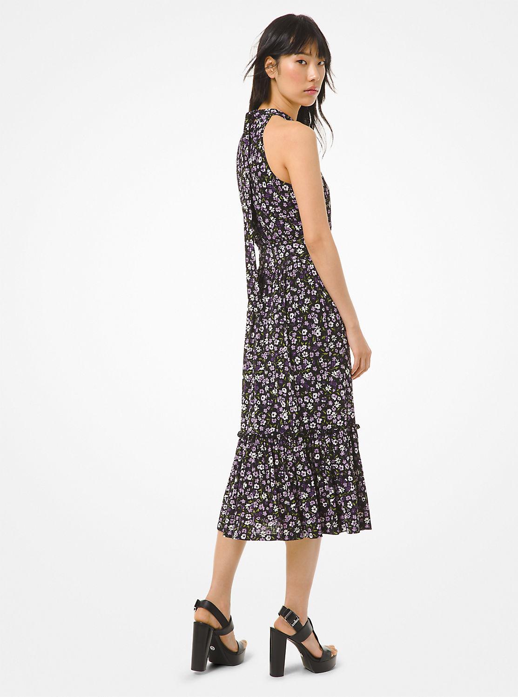 フローラルプリント ホルターネックドレス
