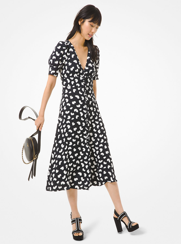 ミディ ペタル パフスリーブドレス