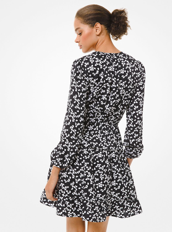 ペタルプリント ティアードドレス