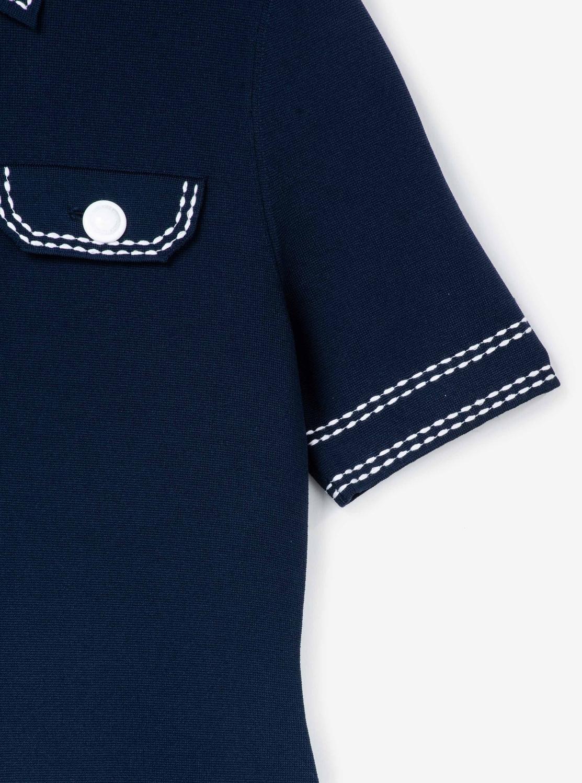 コントラスト ステッチボタン ドレス