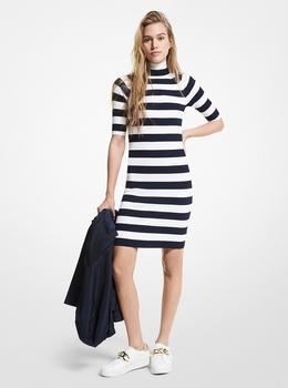 リブ タートルネック ストライプ ドレス